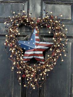 4th of July Wreath  Americana Berry Heart Shape by Designawreath, $66.95