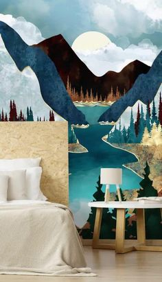 With tones of gold, brown, teal and blue, this striking mountain wallpaper will add colour as well as depth into any room. We think that this beautiful fjord wallpaper would look perfect in a relaxing bedroom or a stylish lounge. Place it on the wall and pair it with gold-painted walls for utter glamour! Choose a chipboard bed and white bedding and enjoy brassy gold accents such as handles or candle holders. Gold Painted Walls, Landscape Wallpaper, Abstract Landscape, Nature Inspired Bedroom, Wall Wallpaper, Bedroom Wallpaper, Blue Velvet Couch, Mountain Wallpaper, White Bedding
