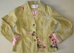 Entity Blazer Jacket Plaid Cotton Embellished Embroidered floral Boho Sz: L #Entity #Blazer