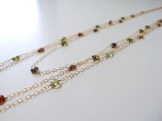 Multistrand Tourmaline Goldfilled Chain Necklace. $74.00, via Etsy.