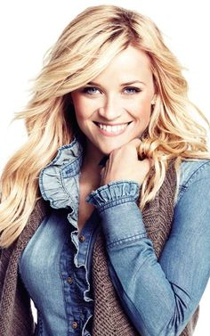 LOVE this ruffled denim top with the knit.  Another Reese Witherspoon for Lindex.
