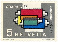 Switzerland postage stamp: ink rollers