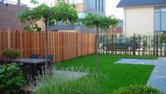 Hardhouten schuttingen,kunstgras en 60x60 tegels vormen een prachtige basis van de tuin!