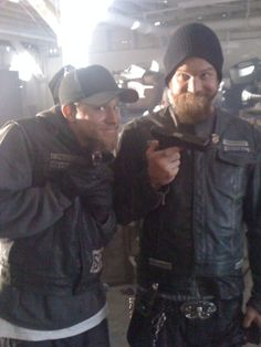 Ryan Hurst and Charlie Hunnam. It's weird to see them smile, they're so serious on the show.