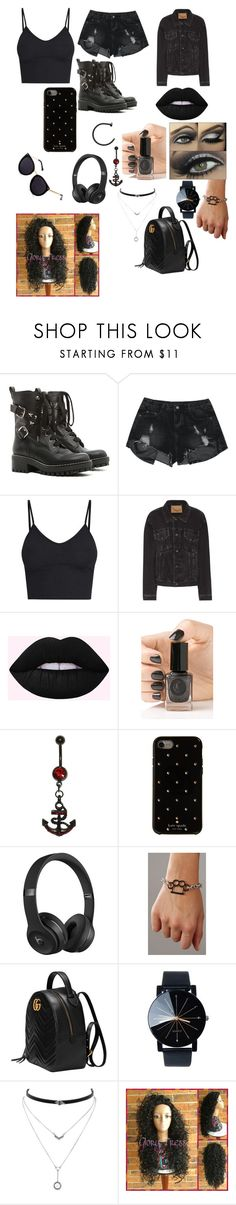 """""""The girl in black"""" by mebanks05 on Polyvore featuring RED Valentino, Balenciaga, Cirque Colors, Kate Spade, Beats by Dr. Dre, Gucci and Jessica Simpson"""