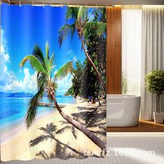 Polyester Waterproof Washable Bath Curtain Beach coconut printed Mildew proof Bathroom Shower Curtain +12PCS C Type Hooks #Affiliate