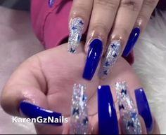 Blue Coffin Nails, Bling Acrylic Nails, Simple Acrylic Nails, Summer Acrylic Nails, Best Acrylic Nails, Spring Nails, Royal Blue Nails Designs, Blue And Silver Nails, Blue Diamond Nails