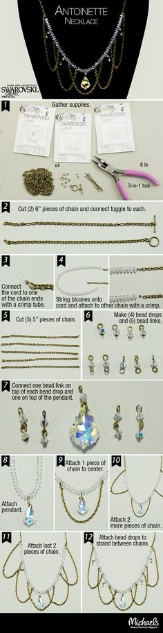 Combine chain and Swarovski crystals to make this  stylish necklace