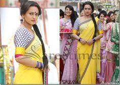 Sonakshi_Sinha_Yellow_Plain_Saree_thumb%255B1%255D.jpg (604×432)