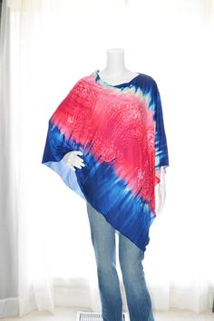 622605b84 Red/pink White and Blue Tie Dye Poncho / Nursing by JessMDesigns Blue Tie  Dye