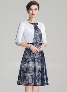 A-Line/Princess Scoop Neck Knee-Length Zipper Up Sleeves Short Sleeves Yes 2016 Dark Navy Spring Fall Winter General Plus Lace Mother of the Bride Dress Navy Lace, Groom Dress, Fall Dresses, Bride Dresses, Trendy Dresses, Formal Dresses, Wedding Party Dresses, Elegant Woman, Chic Outfits