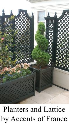 Balcony with lattice and planters by Accents of France