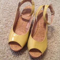 Wedges Yellow patten with cork look wedged heel Shoes
