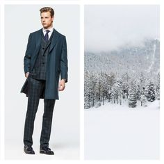 The Larusmiani FW2014/2015 Men's Collection evokes snow-covered evergreen forests: a cashmere coat matched with a wool suit are once more the quintessence of #larusmiani #finetailoring. Find out more www.larusmiani.it