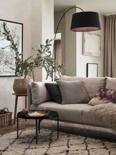 Boho living Room Decor - When was the first used? Boho living Room Decor - Can you put family photos in living room? Living Room Tv Wall, Boho Living Room, Home And Living, Living Rooms, Small Living, Living Room Floor Lamps, Living Room Neutral, Black Sofa Living Room Decor, Neutral Sofa