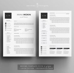 4page Resume / CV Template Cover Letter di TheResumeBoutique