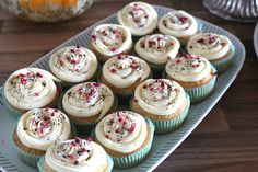 Vanilla cupcake with white chocolate/raspberry/licorice topping