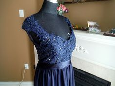 Navy blue bridesmaid dress, lace bridesmaid dress, navy blue lace dress, maternity lace gown by HolliexKate on Etsy https://www.etsy.com/listing/218910648/navy-blue-bridesmaid-dress-lace