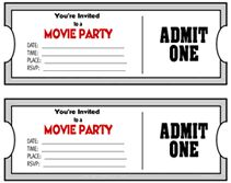 movie ticket theme party  invitaions