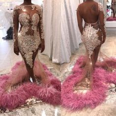 Featuring fluffy hemmed train, exquisite lace appliques on the alluring sheer top, bold open back design, this eye-catching prom dress will absolutely give someone a nosebleed or drooling mouth. Gorgeous Prom Dresses, Prom Girl Dresses, Prom Outfits, Mermaid Prom Dresses, Cheap Prom Dresses, Homecoming Dresses, Pageant Dresses, Prom Dress With Train, Prom Looks