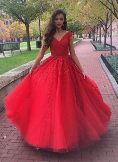 Red Tulle Appliques Prom Dress, Sexy Ball Gown