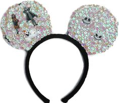 Jack & Friends Handcrafted Homemade Sequin Costume Mouse Ears Headband are the perfect pair of mouse ears for toddlers, children, and adults with the...  #nightmarebeforechristmas #jackskellington #ghost #headband #hairband #disneymovie #disneythemed #disneyaccesory #mouseears #mickeyears #skellington #NBC #etsy #disneycosplay #disneyheadband