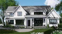 This four-bedroom farmhouse plan boasts a striking exterior with varied rooflines and a welcoming front porch.