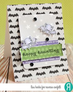 Card by Lisa Henke. Reverse Confetti stamp sets: Best Witches and Treat Yo' Self. Confetti Cuts: Best Witches and Woodgrain. RC 6x6 paper pad: Very Merry. Halloween Card.