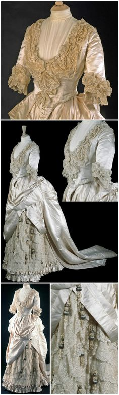 "Wedding dress, made by Gladman & Womack, London, 1885. © Victoria and Albert Museum, London. Silk satin, cotton machine-embroidered net, artificial pearls and metal thread, boned, laced, and lined with cotton. V&A: ""In the 1880s the cut and decoration of fashionable dress frequently drew on historical styles. The drapery of this wedding dress, worn by May Primrose for her marriage to Major Herbert Littledale in June 1885, has similarities with a late 17th-century informal gown called a…"