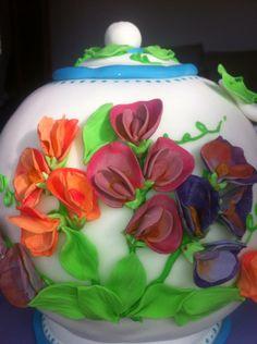 Sweetpea covered teapot birthday cake