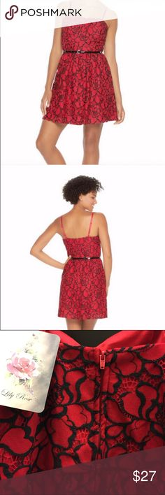Lily Rose Red Floral Skater Dress Brand new with tags. Includes belt. Lily Rose Dresses Mini