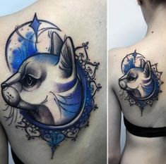 Best Animal Tattoo Designs - Watercolor cat with frame...