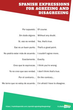 Learn what to say to express agreement and disagreement in Spanish with this article. Learn how to express your agreement and disagreement in Spanish with this useful list of expressions. Spanish Phrases, Spanish Grammar, Spanish Vocabulary, Spanish Words, Spanish Language Learning, Learn A New Language, Spanish Numbers, Spanish Sayings, Translate To Spanish