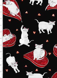 snickers ~ WHITE CAT~ fabric kaufman ~ proud to be a bed hog CATBERRY TAILS Cat Background, Cat Fabric, Baby Items, Rooster, Snoopy, Cats, Bed, Fictional Characters, Gatos