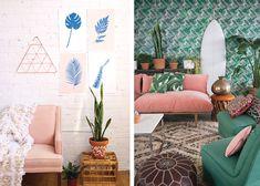 rose et vert couleurs déco canapé rose tapisserie végétale