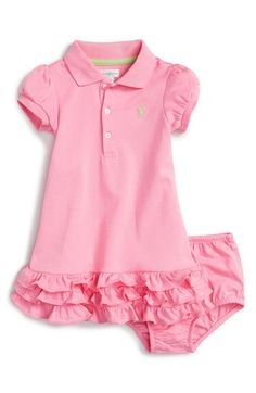 Free shipping and returns on Ralph Lauren Ruffle Knit Dress (Baby Girls) at Nordstrom.com. A signature logo is embroidered at the chest of a darling polo dress cut with a playful ruffled hem.