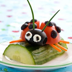 14 Ideas for Playing with Your Food, including ladybug on a log.