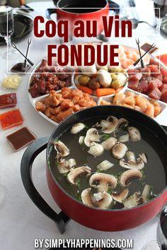 Fondue Recipe Melting Pot, Broth Fondue Recipes, Melting Pot Recipes, Meat Recipes, Cooking Recipes, Coq Au Vin Fondue Recipe, Party Recipes, Copycat Recipes, Yummy Recipes