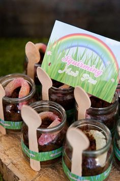 Like the idea of bitty jars of cake that have the spoon 'ribboned' right to the side.
