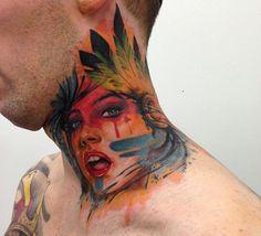 indian girl watercolors #tattoo