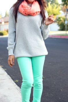 Sweater and mint skinny jeans