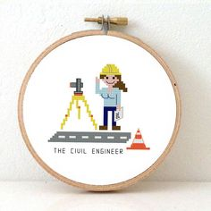 2 x DIY GIFT for Civil Engineer. Professions cross by koekoek