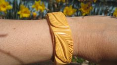 Cream Corn Yellow Hinge Carved Bakelite Cuff Bracelet