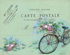 bicycle post card vintage illustration aqua