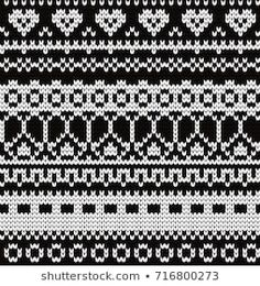 Knitted seamless pattern with fair isle elements Fair Isle Knitting Patterns, Fair Isle Pattern, Knitting Charts, Knitting Stitches, Knitting Designs, Knit Patterns, Baby Knitting, Stitch Patterns, Cross Stitch Borders