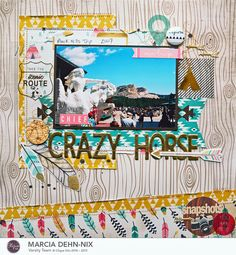 #papercrafting #scrapbook #layout - Chief Crazy Horse scrapbook layout created with the June Clique Kit featuring the fabulous Journey collection from Crate Paper.#cliquekits #cratepaper #scrapbooking
