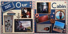 Layout showing their cabin. I used specific info (their room number) to enhance the page's details. #disney #cruise #scrapbook #layout #ourcabin