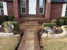 Stamped Concrete Walkway W/ Stamped Brick Boarder