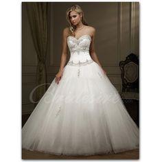 Bridesire - A-line Strapless Sleeveless Chapel Train Organza Wedding Dress [20291065] - US$219.99 : Bridesire