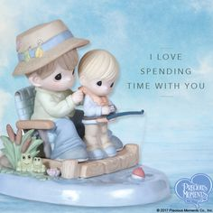 Precious Moments figurines make great gifts for dads and grandpas who create memories that shine for a lifetime. This little boy is learning about so much more than how to fish; he is learning that he is loved. Make time to tell dad or grandpa that you remember. #PreciousMoments #LifesPreciousMoments #Fishing #FatherAndSon #GrandfatherAndGrandson